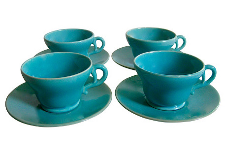 1940s Cups & Saucers, 8 Pcs