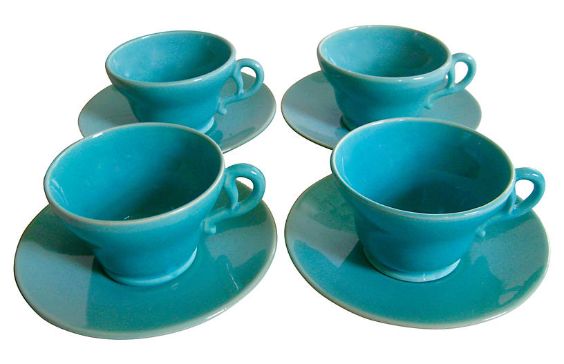 1940s Gladding McBean Cups & Saucers S/4