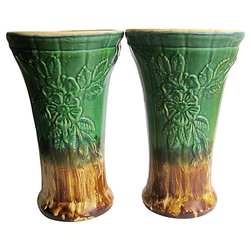 1940s American Pottery Pedestals, Pair