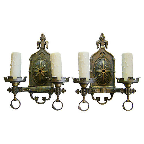 1920s French Bronze Sconces, Pair