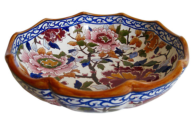 French Faience Peonies Serving Bowl