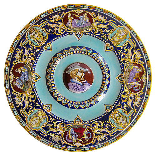 French Faience Armorial Portrait Plate