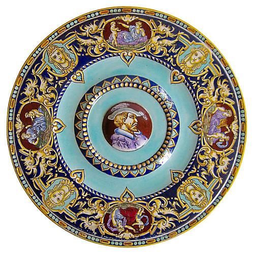 Antique French Faience Portrait Plate