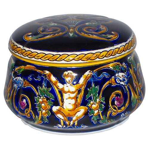 French Hand-Painted Faience Box