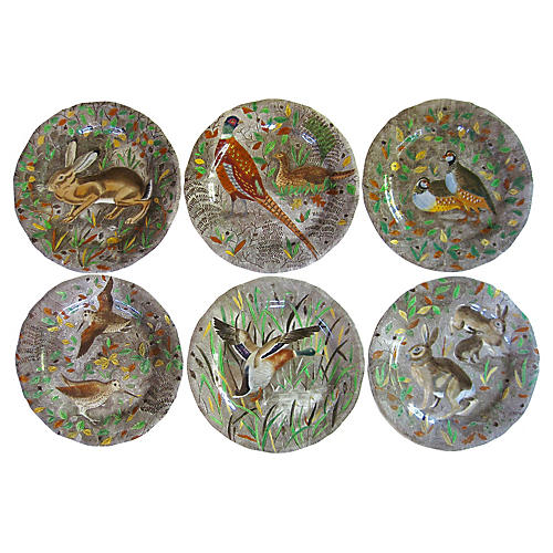 French Faience Hunting Plates, S/6