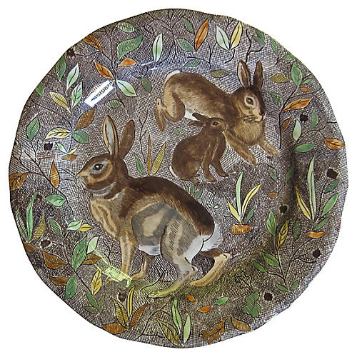 French Faience Rabbits Plate