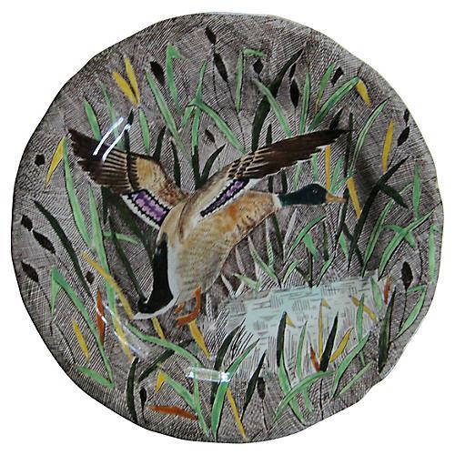 French Faience Mallard Duck Plate