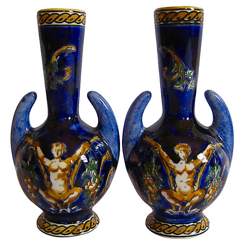 French Faience Gien Vases, Pair
