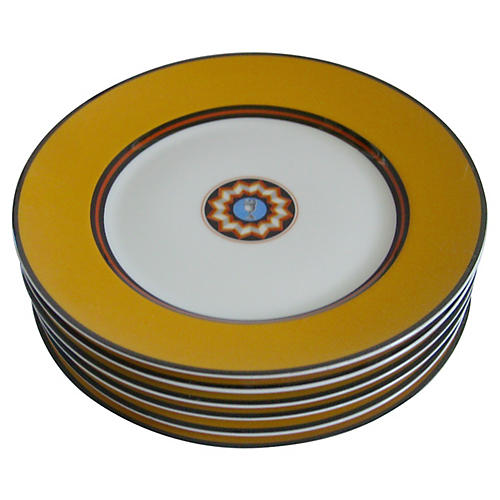 Puiforcat French Porcelain Plates, S/6
