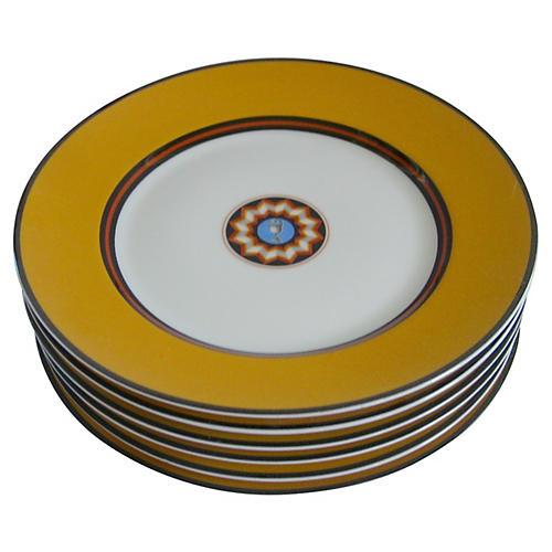 Puiforcat French Porcelain Plates, S/6