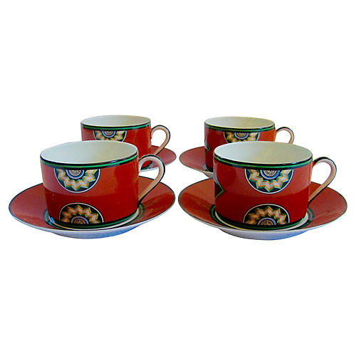 Puiforcat Porcelain Cups & Saucers, S/4
