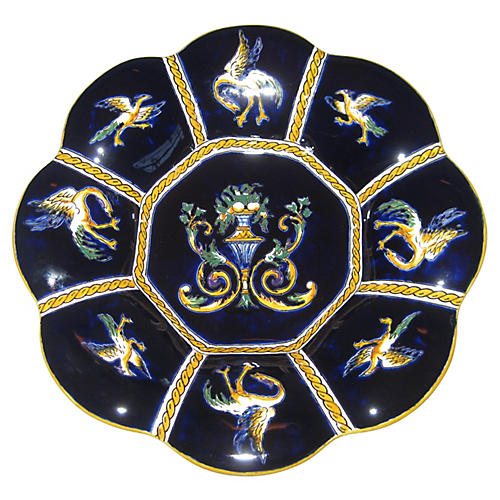 French Faience Lobed Plate