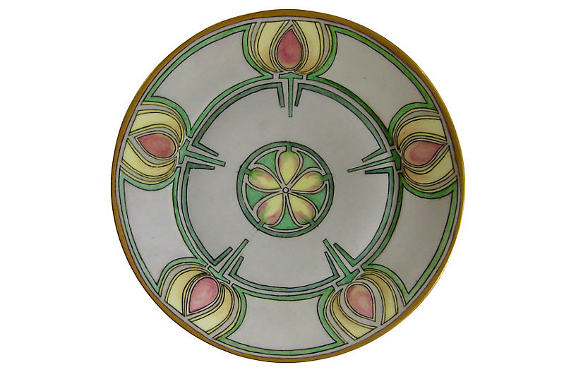 Hand-Painted Porcelain Plate, 1951