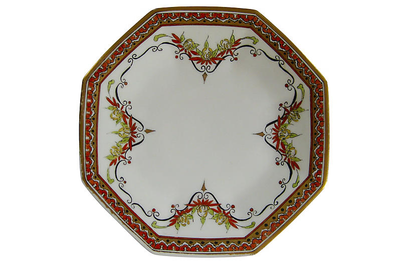 Hand-Painted Limoges French Plate, 1928
