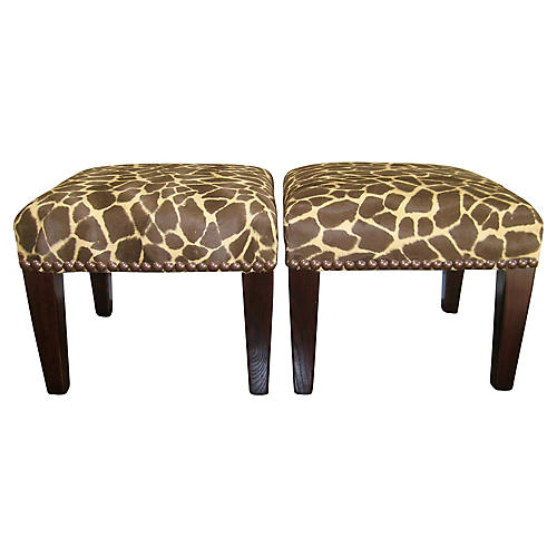 George Smith English Stools, Pair