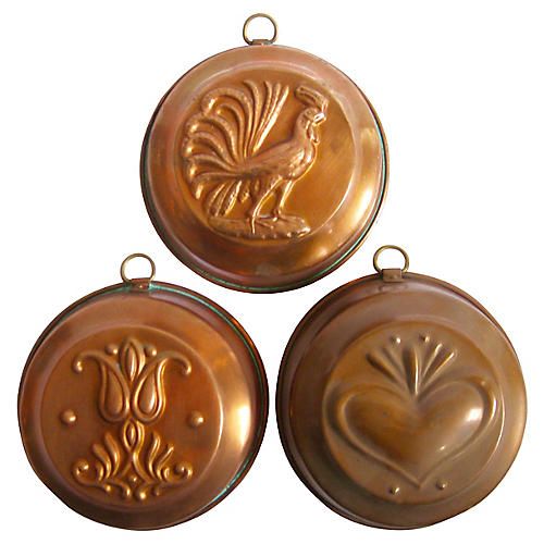 Copper Molds, Set of 3