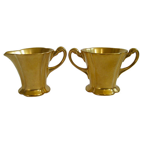 Pickard Gilt Porcelain Sugar & Creamer