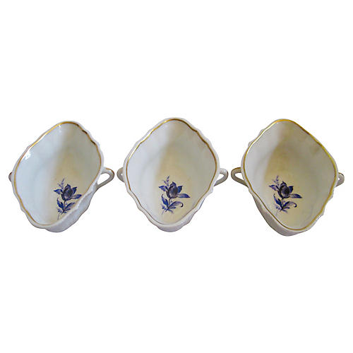 Ginori Italian Gilt Porcelain Bowls, S/3