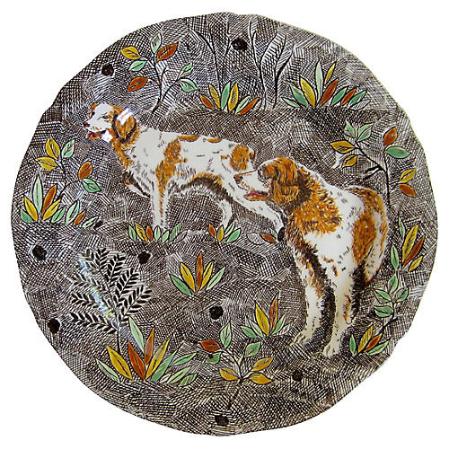French Faience Spaniels Plate