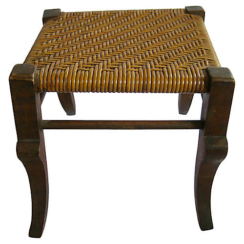 1920s American Woven-Seat Stool