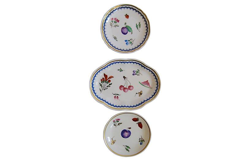 Ginori Italian Porcelain Fruit Trays S/3