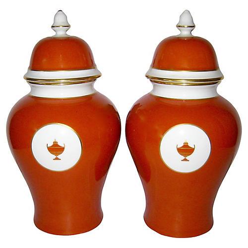Ginori Italian Porcelain Urn Jars, Pair
