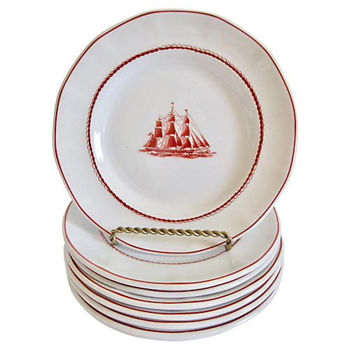 Wedgwood English Canape Plates, S/8