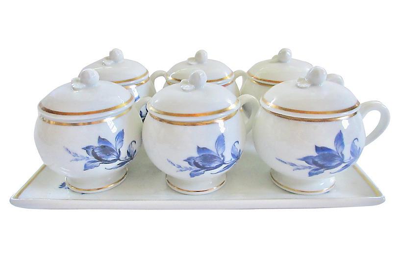 Ginori Porcelain Pots de Creme & Tray