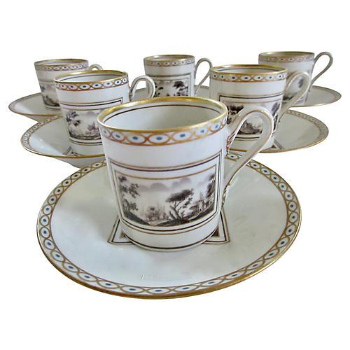 Ginori Porcelain Espresso Cups & Saucers