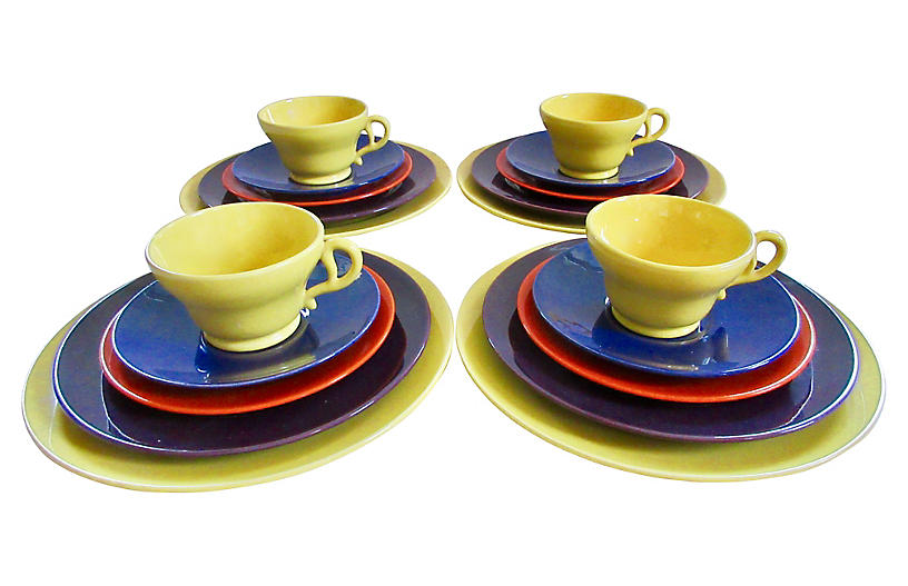 1940s California Pottery Service for 4