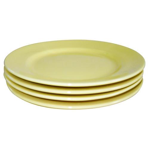 California Pottery Canapé Plates, S/4