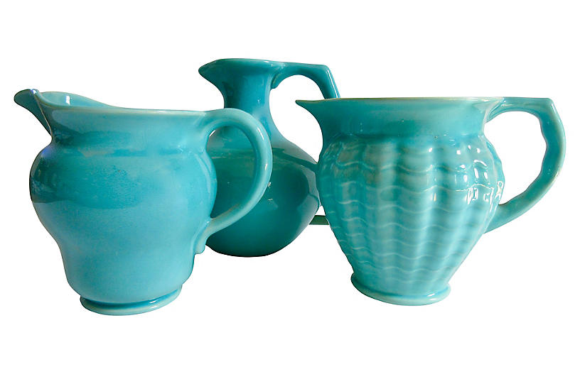 1930s California Pottery Pitchers S/3