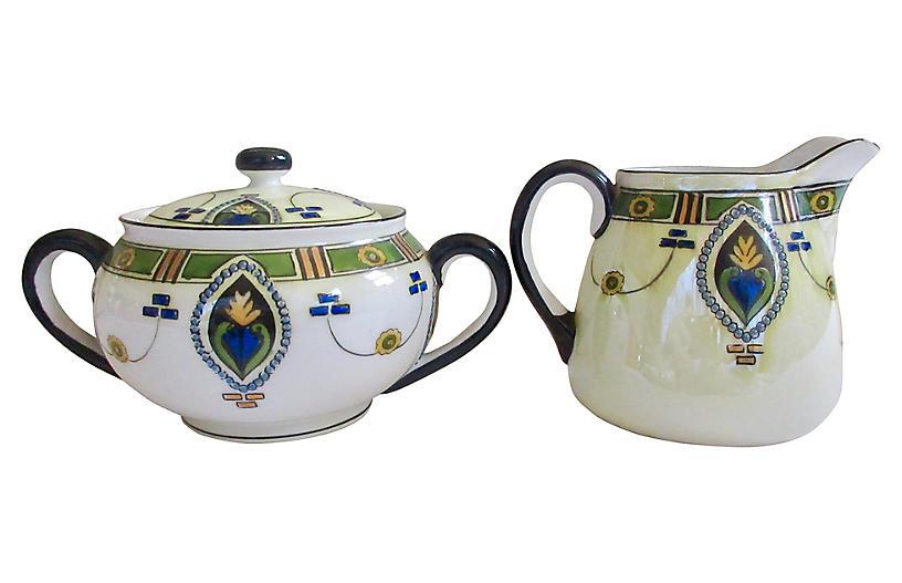 1930s Porcelain Sugar Bowl & Creamer
