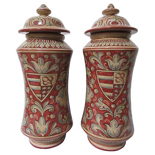 Gubbio Italian Faience Jars, Pair