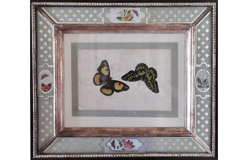 1800s Canton Watercolor w/Eglomise Frame