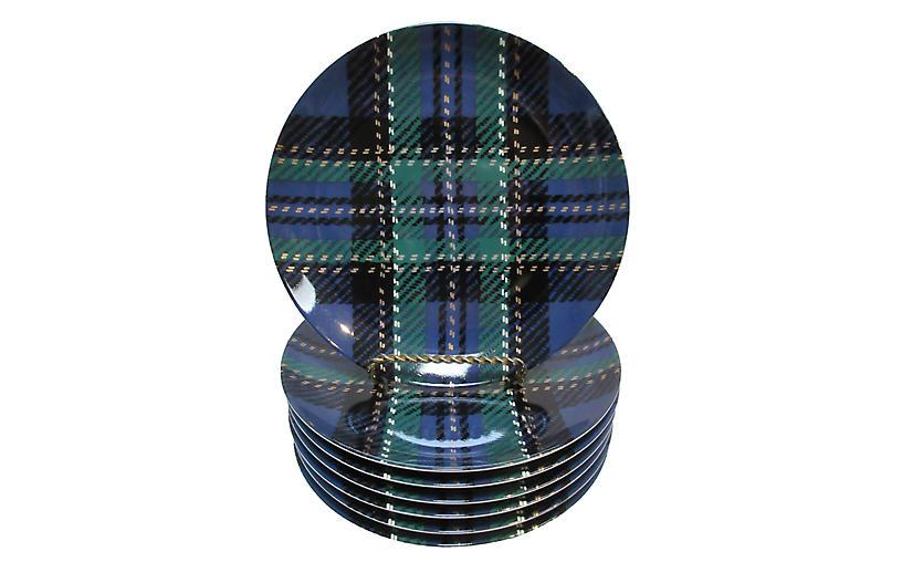 Blue Tartan Porcelain Plates S/7