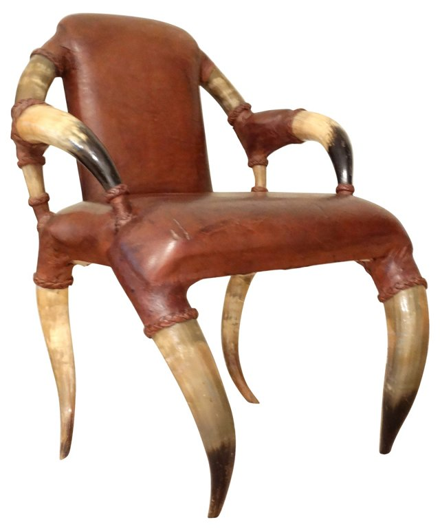 19th-C. Continental Leather Horn Chair