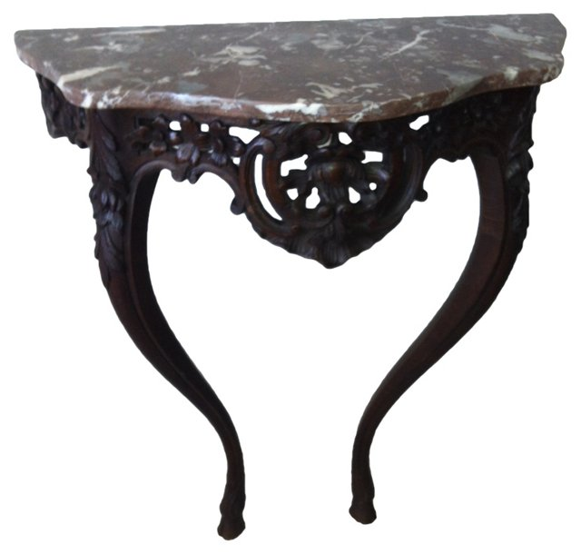 19th-C. French Marble-Top  Console