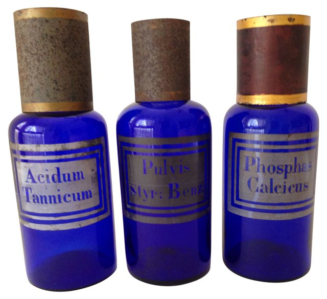 Antique Cobalt Apothecary Jars, S/3
