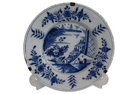18th-Century Delft Chinoiserie Plate