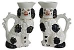 19th-C. Spaniel Dog Pitchers, Pair
