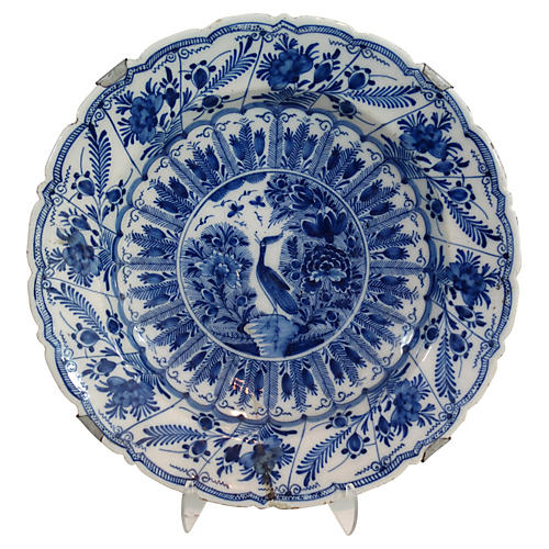 18th-C. Delft Chinoiserie Charger
