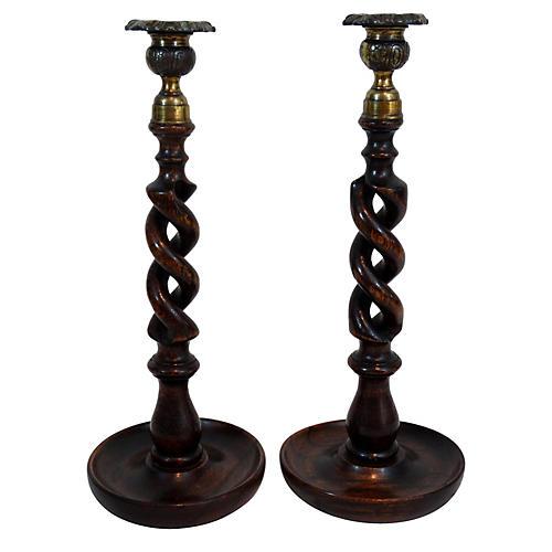 C.1890 Oak Open-Twist Candlesticks, Pair