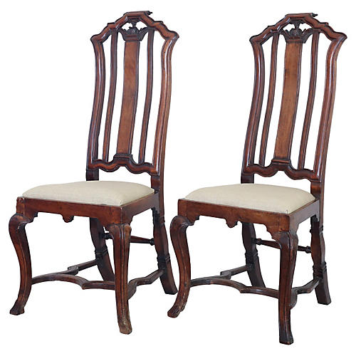 18th-C. Anglo-Dutch Walnut Chairs, Pair