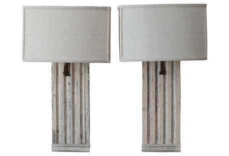 Architectural Wall Panel Sconces, Pair