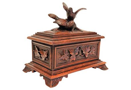 Antique Black Forest Box w/ Birds