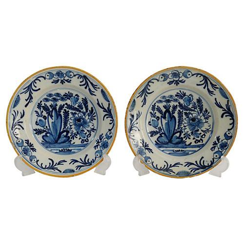 18th-C. Delft Plates, Pair