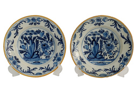 18th-C. Delft Plates, Pair