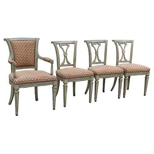 Swedish Neoclassical Chairs, Set of 4