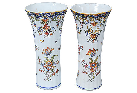 Antique French Faience Vases, S/2